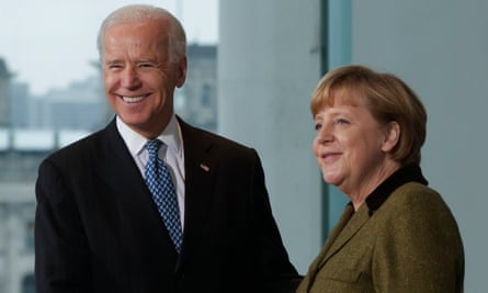 Joe Biden and German chancellor Angela Merkel