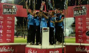 Moeen Ali and Worcestershire Rapids celebrate winning the T20 Blast last season. From next year the tournament will take place earlier in the summer to make way for the Hundred competition in July and August.