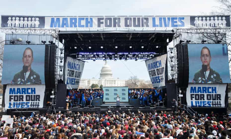 Emma González, a survivor of the Parkland school shooting, speaks during the March For Our Lives. 'These magnificent young people must become the vanguard of a mass movement to rescue America.'