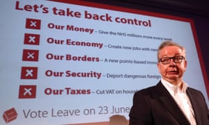 Michael Gove at Vote Leave rally in June 2016.