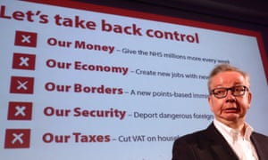 Environment secretary, Michael Gove talks to supporters during a Vote Leave rally in 2016 when he was justice secretary.