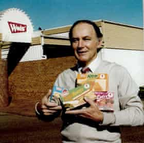 Les Weis in the early 90s holding Weis products.