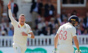 Peter Siddle celebrates after dismissing Jos Buttler, his one wicket of the day.