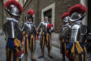 New recruits to the Pontifical Swiss Guard prepare to be sworn in during a ceremony in Vatican City