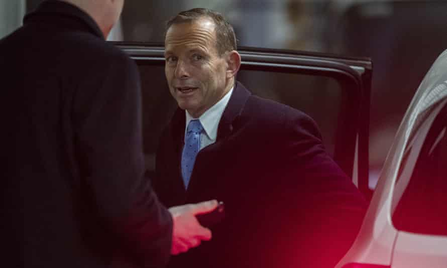 Tony Abbott arrives to give his speech at the Australian Environment Foundation event in Melbourne on Tuesday evening.