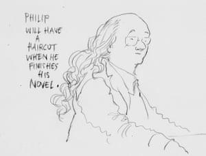 Chris Riddell sketch of Philip Pullman