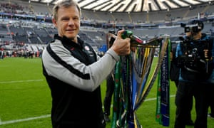 Mark McCall with the Champions Cup trophy his Saracens' side claimed after beating Leinster.