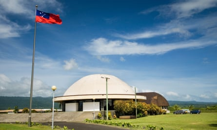 Samoa's new parliament house in Apia, funded by Australia, but built without a press gallery for journalists to observe and report on parliament.