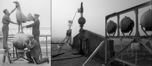 The nine-foot high cockerel is cleaned whilst the stands are improved and enlarged in July 1934 and in situ on top of the roof of the East Stand in March 1988.