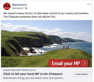 A Facebook advert placed by Mainstream Network in 2018.