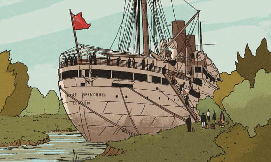 Illustration by R Fresson of the Empire Windrush.