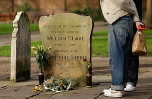 The headstone and memorial for the poet and painter William Blake in the Bunhill Fields cemetery