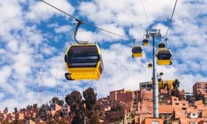 Mi Teleferico aerial cable car urban transit system in the city of La Paz, Bolivia.