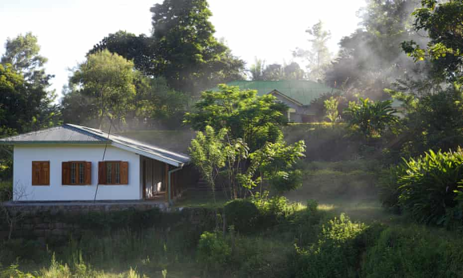 Factory & bungalow in mist, Amba Estate, Sri Lanka