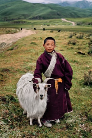 Young Nomad with his Goat. Litang, Tibet, 2001