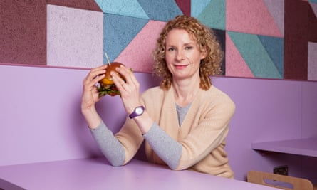 "Bee Wilson prepares to try a ""fake meat"" burger in Cambridge."