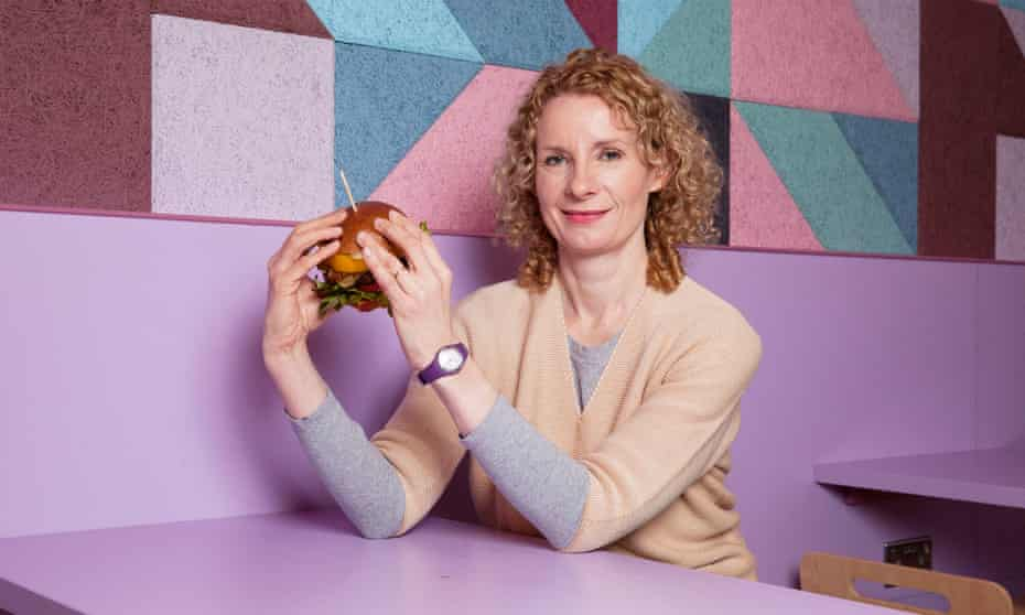 """Bee Wilson prepares to try a """"fake meat"""" burger in Cambridge."""