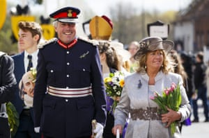 Lord Lieutenant of Warwickshire Timothy Cox, who is the Queen's representative in the county, takes part in the Shakespeare parade in Stratford-upon-Avon