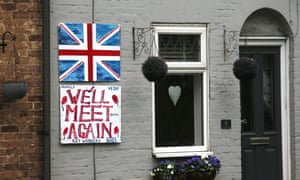A home in Kent with union flag and 'We'll meet again' poster