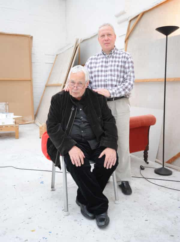 Howard Hodgkin and Antony Peattie in his London studio in 2011.