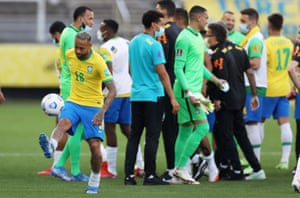 Neymar kicks the ball as the players wait for answers.