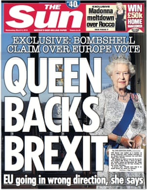 The Sun's 'Queen backs Brexit' front page.