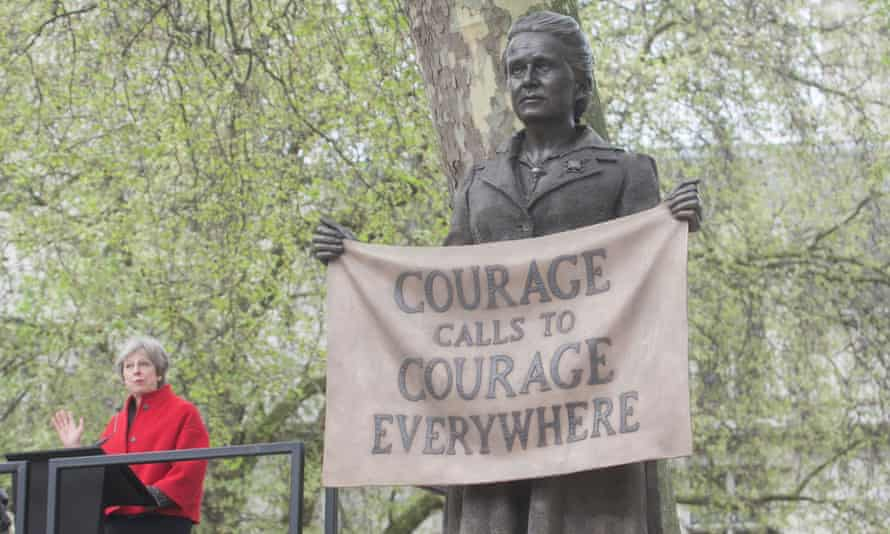 Theresa May speaks at the unveiling ceremony for Gillian Wearing's statue of Millicent Fawcett in Parliament Square.