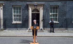 Theresa May outside No 10, delivering her statement on the London Bridge attack