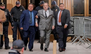 Harvey Weinstein exits New York state supreme court following a hearing on 6 December 2019.