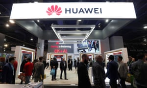 A Huawei booth at CES in Las Vegas