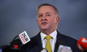 Anthony Albanese speaks to the media at Henson Park, the home of the Newtown Jets, in Sydney