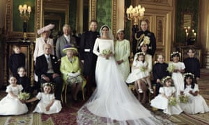 The Duke and Duchess of Sussex with other members of the royal family in an official wedding photograph.
