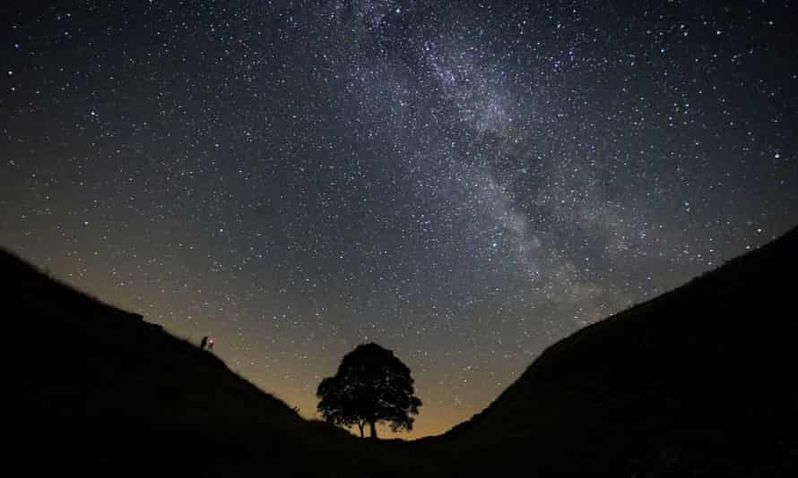 A photographer lining up a shot on a clear night under the Milky Way at Sycamore Gap on Hadrian's Wall in Northumberland.