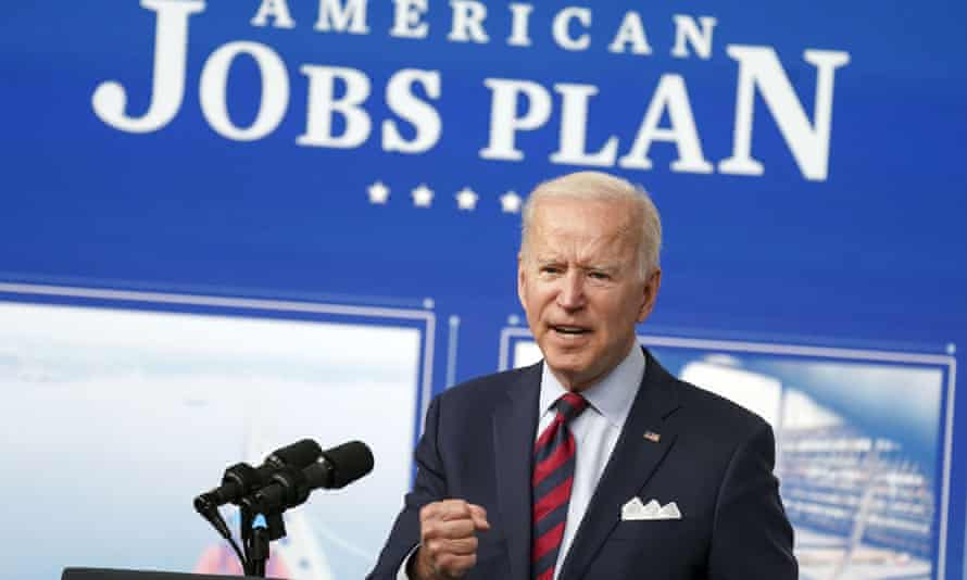 Joe Biden delivers remarks on his American Jobs Plan in Washington.