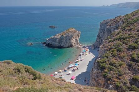 Looking down on the beach of Kaladi during summer, Kithira island , Greece