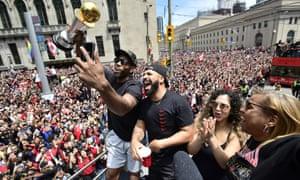 Kawhi Leonard and Drake celebrate the Raptors' NBA title with fans in Toronto