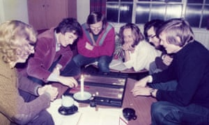 John Horton Conway [THIRD FROM RIGHT? - CHECKING MC] playing backgammon by candlelight with friends in the late 1970s, when he was a lecturer at Cambridge University