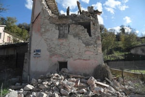 A destroyed house in the village of Borgo Sant'Antonio.