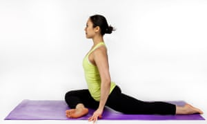 Pigeon pose soothes a tight lower back.