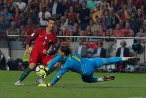 Switzerland's Yann Sommer denies Ronaldo.