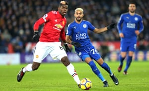 A question about Paul Pogba, left, captaining Manchester United at Leicester prompted José Mourinho to lose his temper.