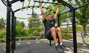 Man on gym equipment
