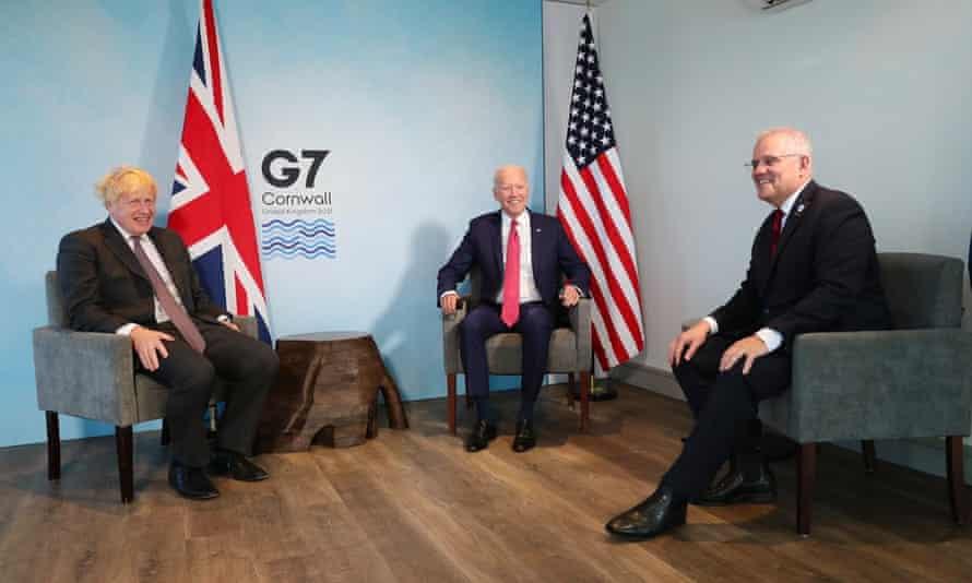 Joe Biden, Scott Morrison and Boris Johnson