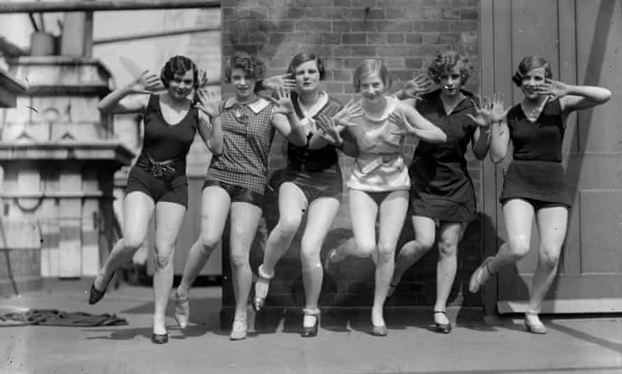 Dancers demonstrating steps from the Charleston circa 1926.