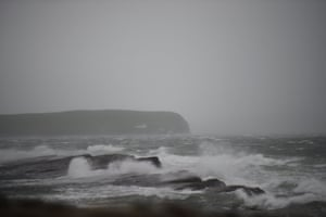 Storm Ophelia whips up the sea as it makes landfall along Loop Head peninsula in County Clare