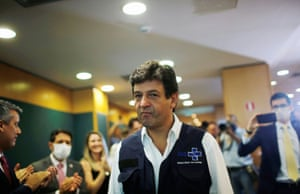 Luiz Henrique Mandetta, Brazil's Minister of Health, arriving at a news conference on Monday