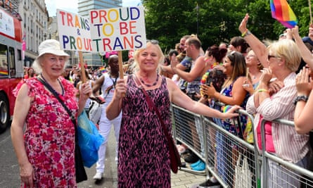 Trans people at the Pride in London parade earlier this month