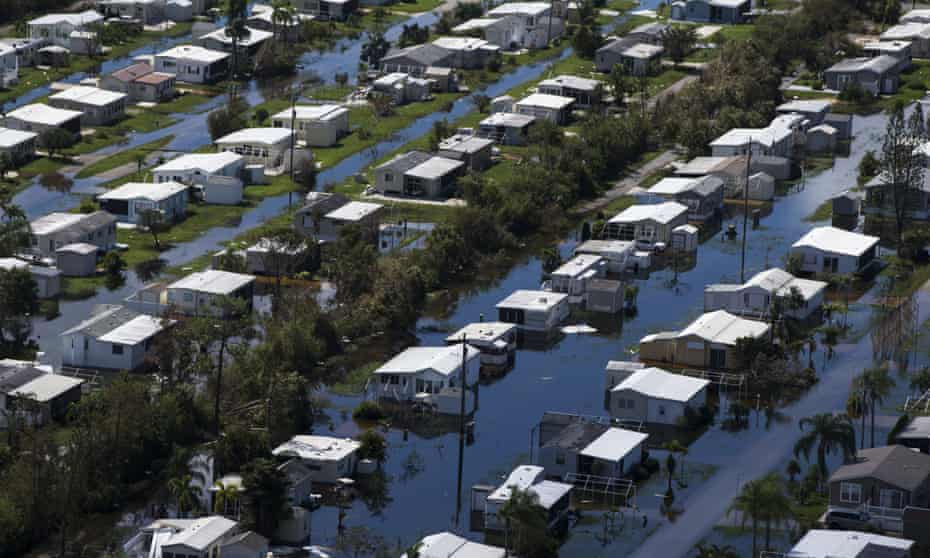 Flooded homes at Citrus Park in Bonita Springs, Florida on 16 September 2017, six days after Hurricane Irma.