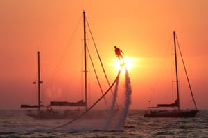 A flyboard rider at the 2017 Extreme Crimea festival of extreme sports, Olenevka, Crimea, Russia
