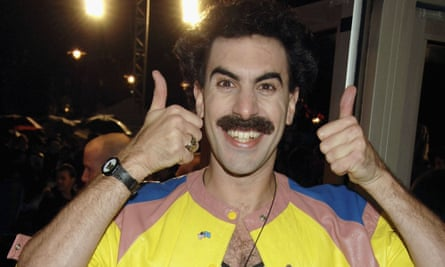 Sacha Baron Cohen, in character, at the London film festival premiere of Borat in 2006.
